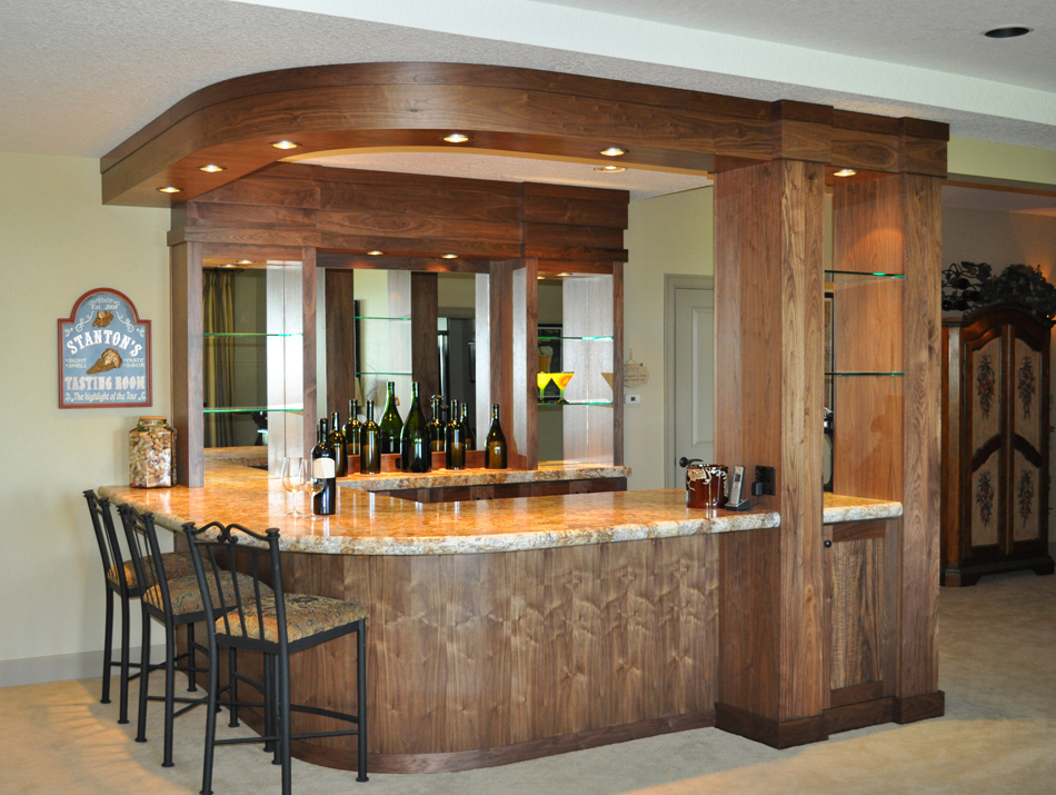 Product Details Walnut Wine Bar With Radius Soffit And Back Aura Cabinetry Building Quality Kitchen Cabinets Bathroom Vanities