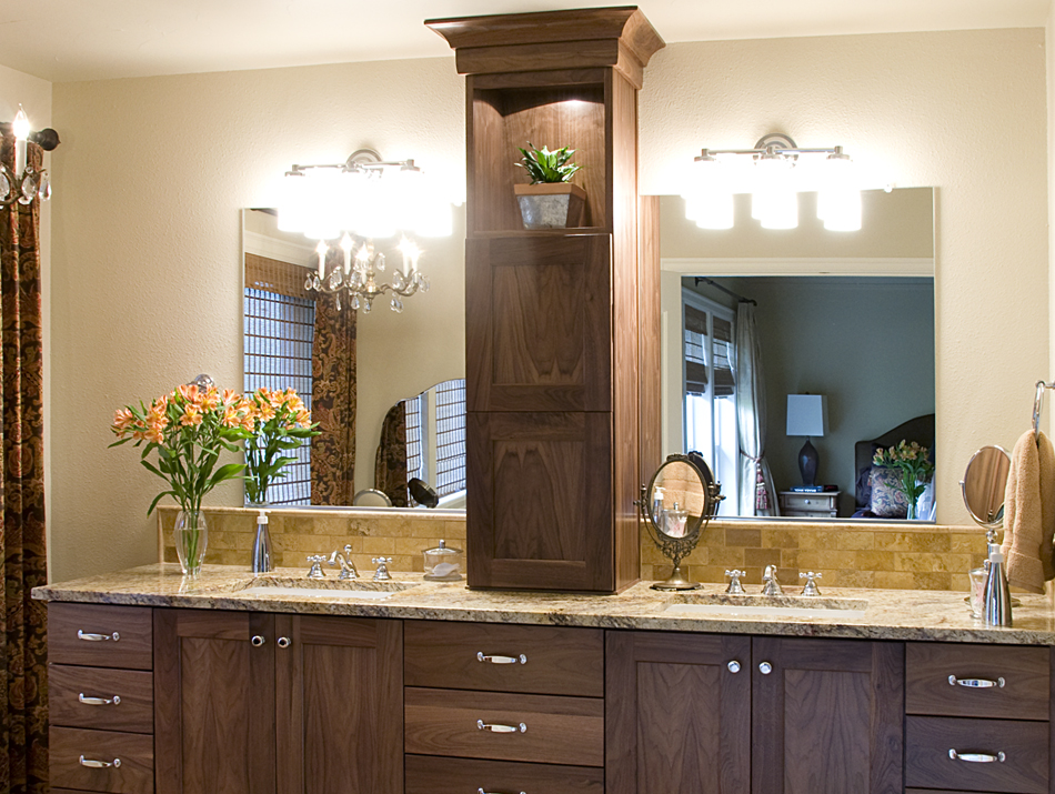 Ideal Product Details: Walnut Master Bathroom Vanity with Tower on  JT15