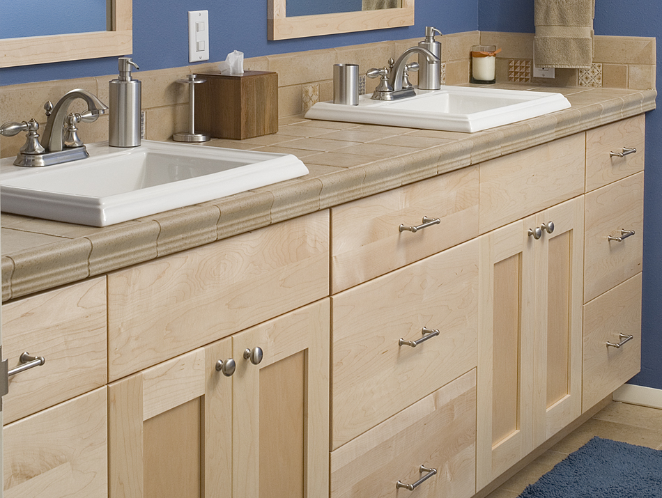 Product Details Bathroom Natural European Maple Aura Cabinetry Building Quality Kitchen Cabinets Bathroom Vanities Entertainment Centers Hutches Bars Wine Rooms Throughout The Portland Metropolitan Area